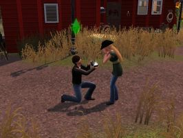 Ty proposes to Amy in The Sims 3 by jademoo
