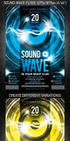 Sound Wave Party Flyer, PSD Template by 4ustudio
