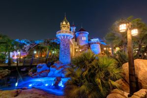 Prince Eric's Castle Under the Nighttime Sea by shaderf