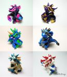 6 Dragon Collage by SweetMayDreams