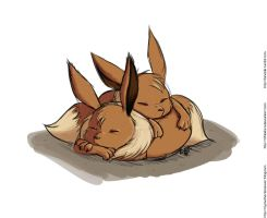 Sleeping Eevees by TchibiLara