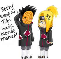 Tobi pissing off Deidara by IdenCat