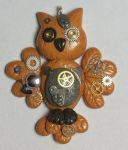 Steampunk Owl Pendant by prismaticpearls