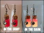 Glow in the Dark Love Potion Vial Bottle Earrings by Euphyley