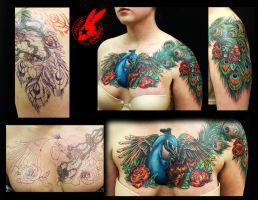 Peacock Feather  Cover Up Tattoo by Jackie Rabbit by jackierabbit12