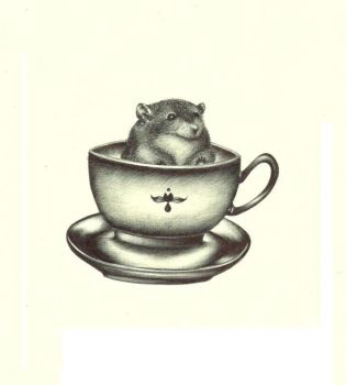 Obese mouse in teacup. by veeohlay