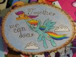 Scootaloo x Rainbow Dash wood burning by AgentEvans