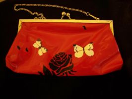 Red Purse with White Moths by KimsButterflyGarden