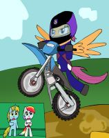 Adult Scootaloo is a dirt bike by Helsaabi