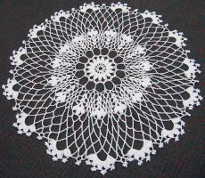 Patience is a Virtue: White 18in Table Doily by doilydeas