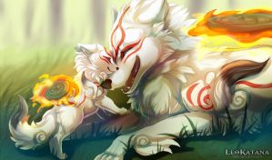=OKAMI= Goddess and her Son by LeoKatana