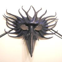 Bird Leather Mask Raven Crow Black Blue by teonova