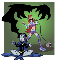 Raven and Starfire by UsmanHayat