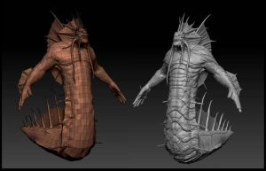 Naga high and low poly by AuDreee