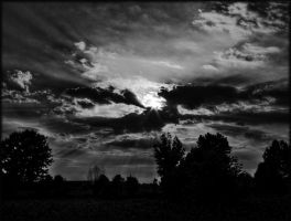 Cloudy Sunset _ BW by Joe-Tony