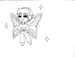 Pewds Became A Butterfly line art by mizuki12341