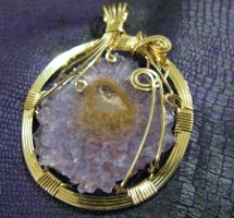 amethyst geode slice in gold by DPBJewelry