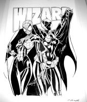 Spider-Girl and Batgirl Wizard cover recreation by redskindavyd