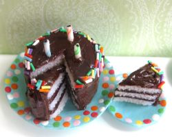 Dollhouse Miniature Chocolate Cake by LittleSweetDreams