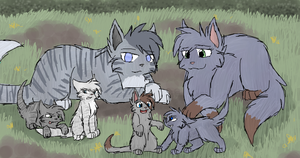 Jayfeather, Gentleleaf and their kits by CascadingSerenity