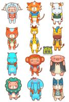 The new set of cartoon animals by jimmitown
