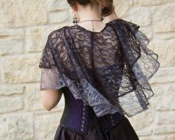 Black and Silver Emily Elaine Lace Capelet by CrystalKittyCat