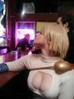 One day, Power Girl walks into a bar.... by Pabloramosart