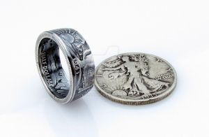 SILVER Walking Liberty Half Dollar Coin Ring by TCSCustoms