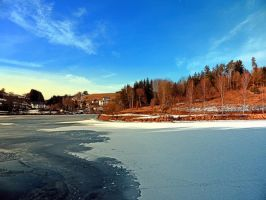 Frozen river panorama by patrickjobst