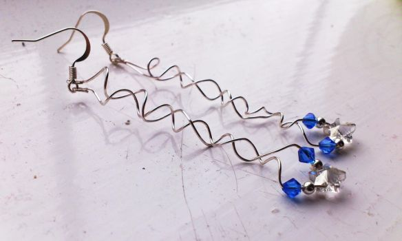 Silver Star Earrings with Swarovski Crystals by helnidhogg