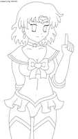 Lingerie Sailor Mercury Lineart by izka-chan