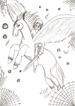 A knigth on his pegasus
