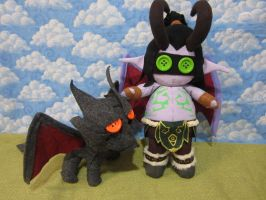 Illidan and Deathwing by Rei2jewels