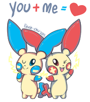 Plusle Minun Valentine by Eevie-chu
