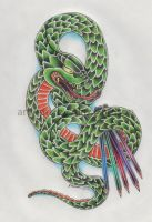 Snake colouring in tattoo design by Genocide-Al