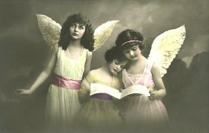 Vintage trio of angels by MementoMori-stock