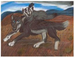 Runnin From the Storm - wolf and Badgr by CrystalMarineGallery