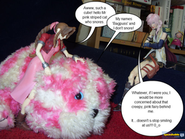 Bagpuss and creepy fairy by Miss-Sweetlivvy