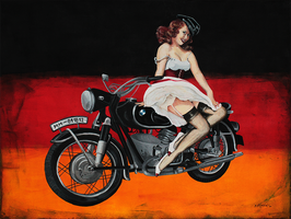 BMW R71 and Pinup Girl by merillita