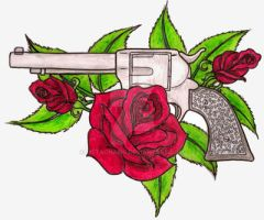 Revolver with Roses Tattoos by Metacharis