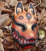 Gold red kitsune mask by missmonster