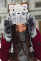 Gray Cat beanie and Hedgehog mittens by NatalieKnit