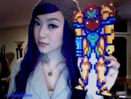 Metroid Samus Pixel Bead Art by VampBeauty