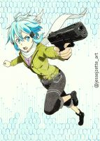 Sinon with Glock 18 Select Fire Handgun by jessejzette