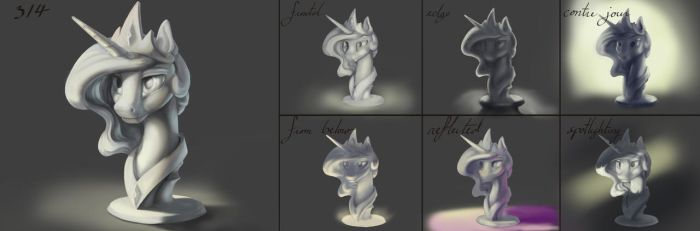 Celestial Practice 3: Lighting Busts by SilFoe