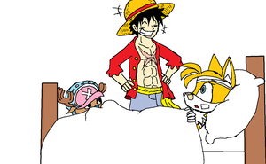 Luffy, Chopper, and Tails by XfangheartX