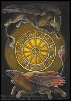 Gryphon Tarot: Rota Fortuna by silvermoonnw