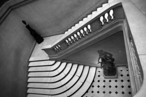 Looking down the stairs... by AlphonseLavallee