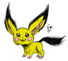 Realistic-style Pichu by XantheStar