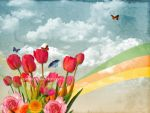 Flowers and butterflies by pincel3d